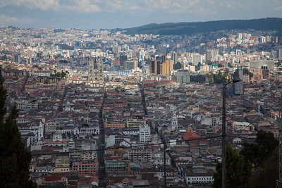 A view of Old Town Quito from the top of El Panecillo.