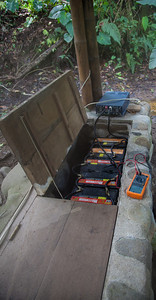 A bank of batteries feed an inverter used to power everything at El Monte in Mindo.