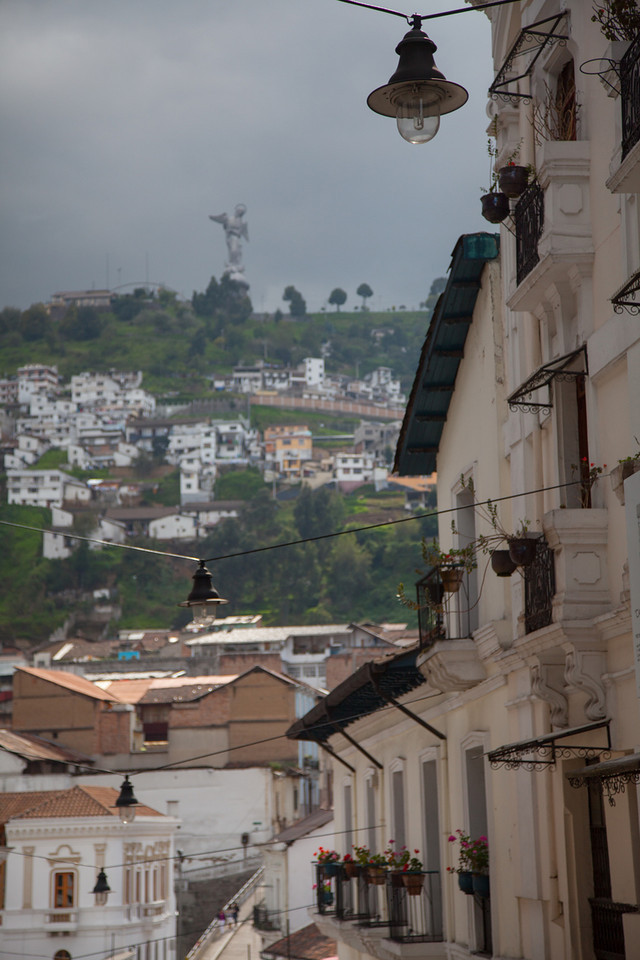 My favorite street was toward the end of Guayaquil where it sloped downward and had views of El Panecillo lined with great balconies.