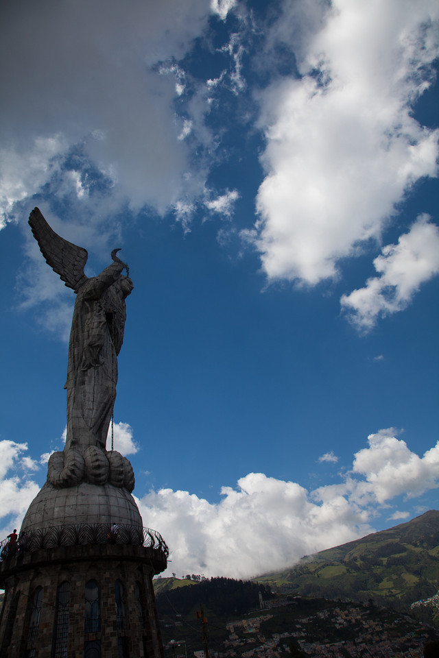 La Virgen de Quito up on top of El Panecillo overlooking Quito.