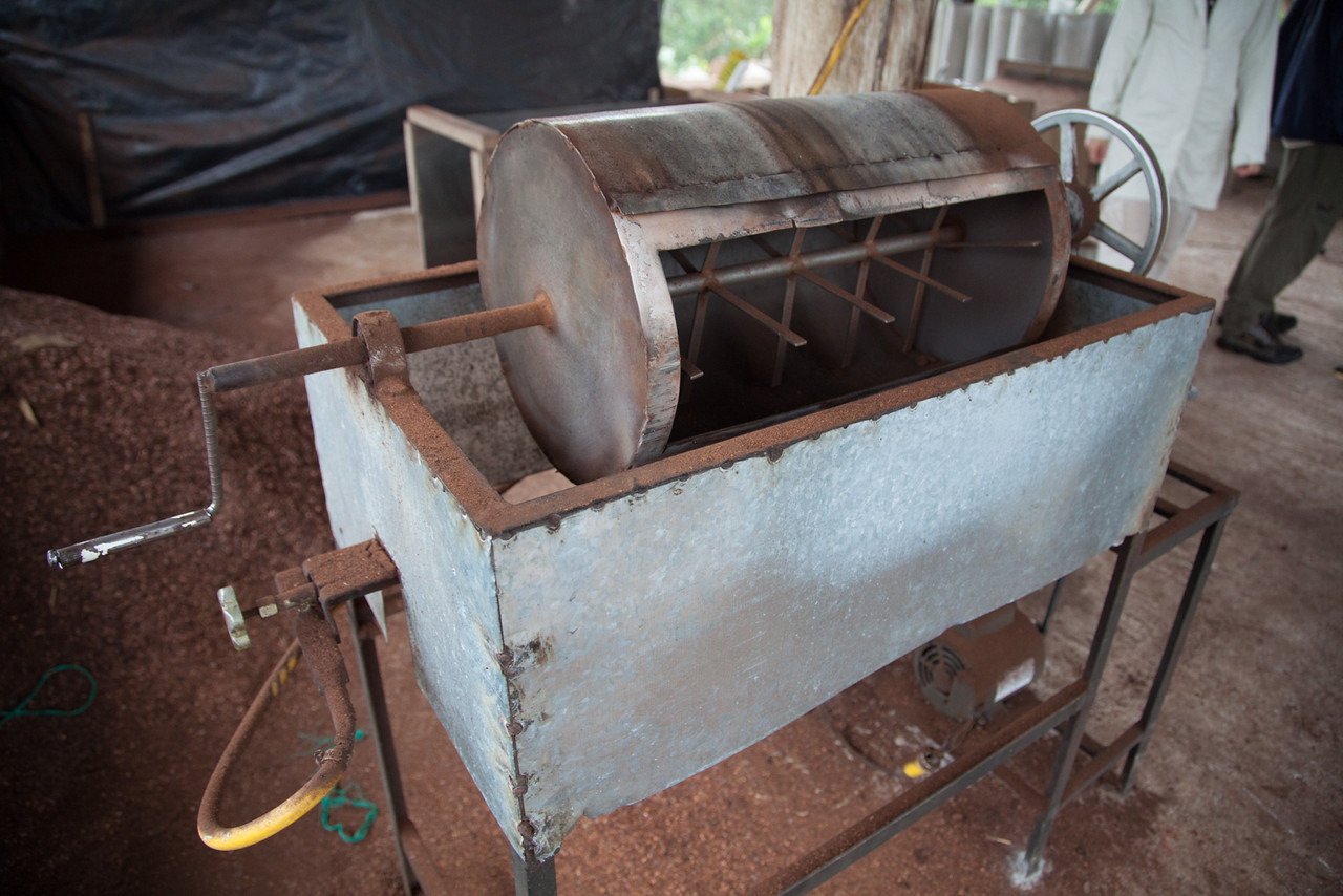 A tour of the chocolate factory in Mindo. This is the roaster where the cocoa bean is roasted after 6-21 days of fermentation and drying.
