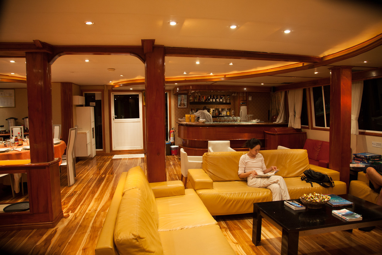 And the lounge/briefing area aboard Queen of Galapagos.