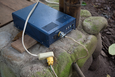 The inverter and single outlet distributing power to the cabanas and lodge.