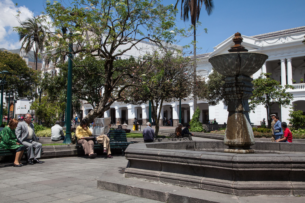 My favorite part of Quito - people watching in Plaza Grande. We also met an older Quiteño man named Pepe on one of the benches here and discussed everything from chess to politics.
