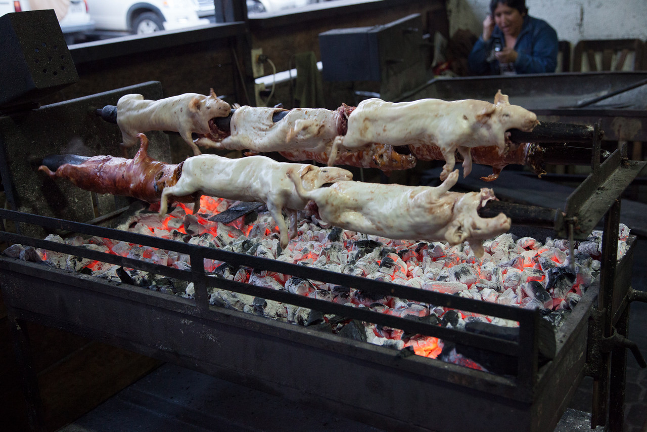 After not being able to find this traditional dish when I was in Peru, I made sure to seek out some cuy this time. When we ordered, they took us out back to watch our guinea pig being roasted.