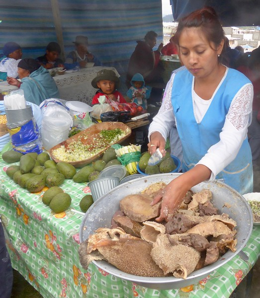 Otavalo market - cow innards for lunch