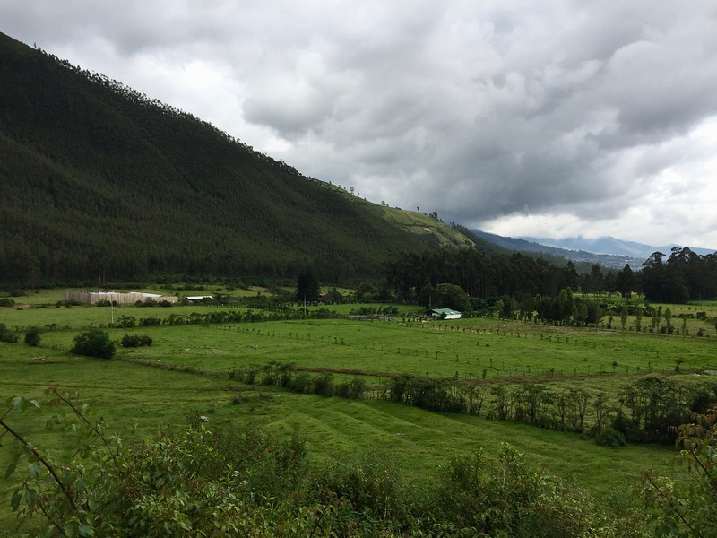 View of nearby farm on hike from Hacienda Cusin