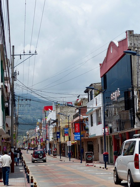 Main shopping street in Cotacachi leather village