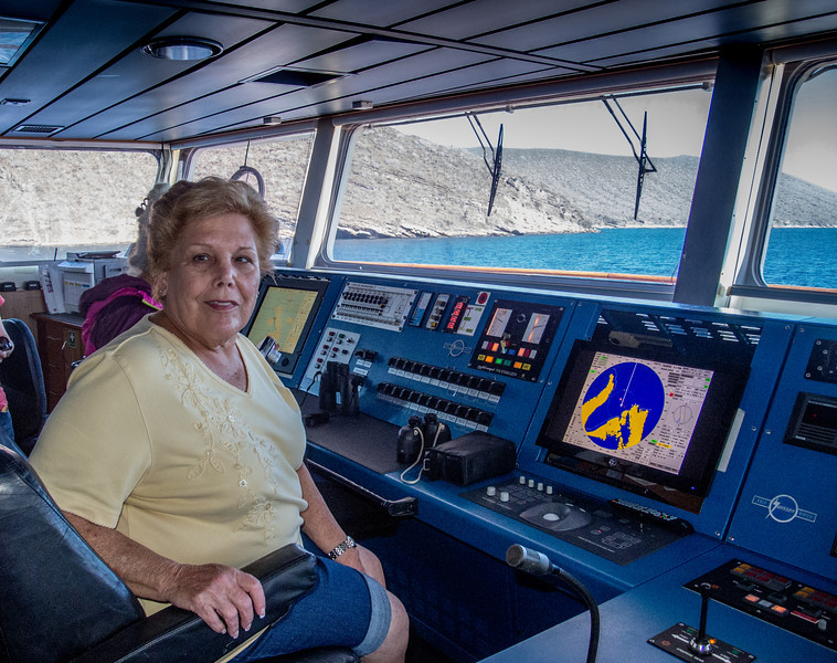 Captain Sandy on the bridge of Celebrity Xpedition