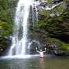 Gabe swimming the the frozen waterfall
