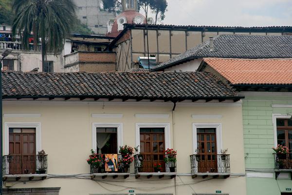 Balconied houses on a street