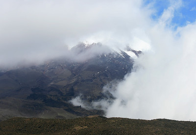 Cloud covered Cotopaxi