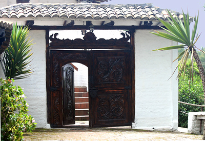 Carved doorway at the lodge