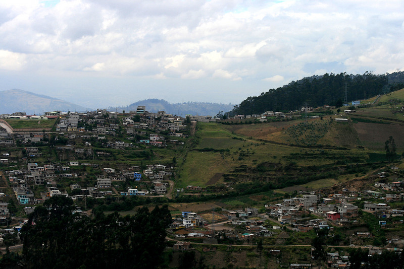 Densely populated Quito town.