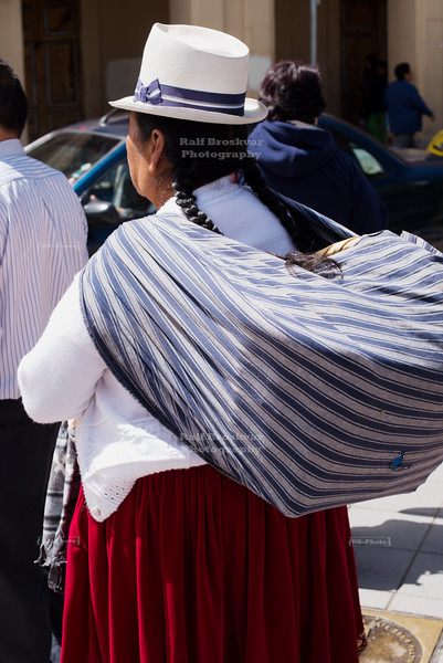 Indigenous woman in Cuenca, Ecuador