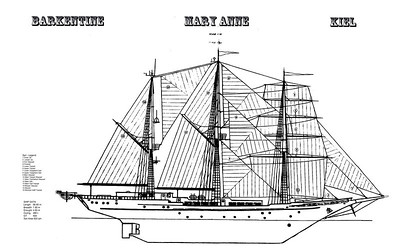 The graphic of the Mary Anne in a staircase