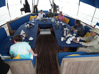 The outside dining area just above the Stern