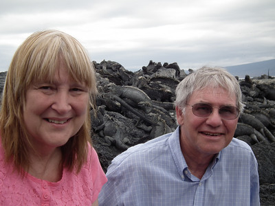 Our friends the iguanas behind us on the rocks