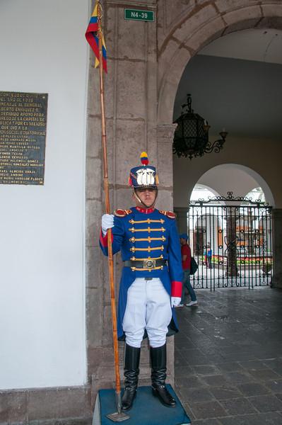 • Location - Quito, Ecuador<br /> • A Guard at the Presidential Palace
