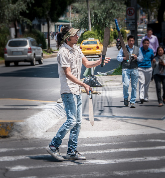 • Location - Quito, Ecuador<br /> • A man I saw juggling machetes on the way back from the Botanical Garden in the center of the street for money.