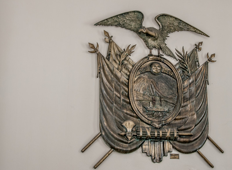 • Location - Quito, Ecuador<br /> • A metal plaque I saw on the Presidential Palace wall