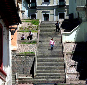 A street ending in a staircase just two blocks from our apartment.