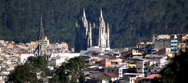 The Quito Basilica from a distance.