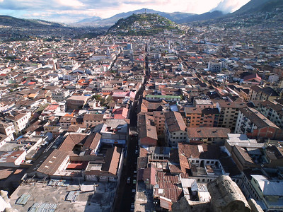 The view from the Basilica looking down Venezuela. Just before it gets to the steep little hill we turn left to go to our apartment. The huge Angel is on top of the hill.