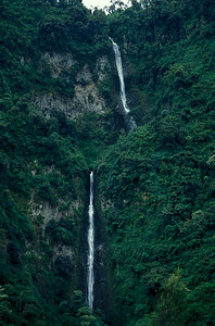 © Joseph Dougherty. All rights reserved.  Waterfalls cascading down the eastern side of the Andes foothills, on the edge of the Amazon.   Amazonas District, Ecuador.