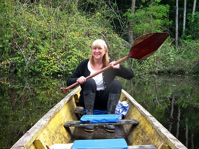 "Janice on a ""man powered"" canoe  :)"