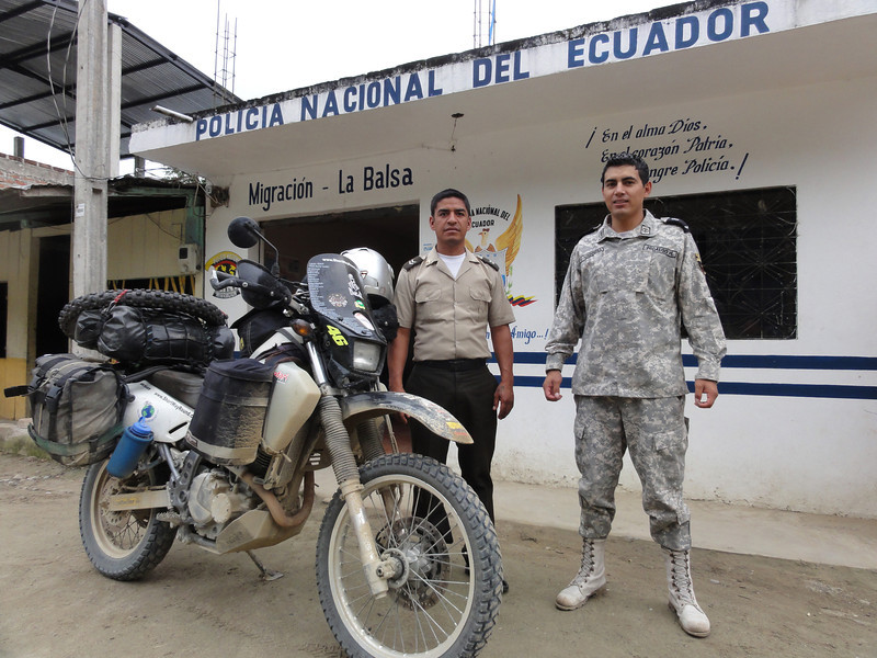 Friendly officials at the Ecuador/Peru  border