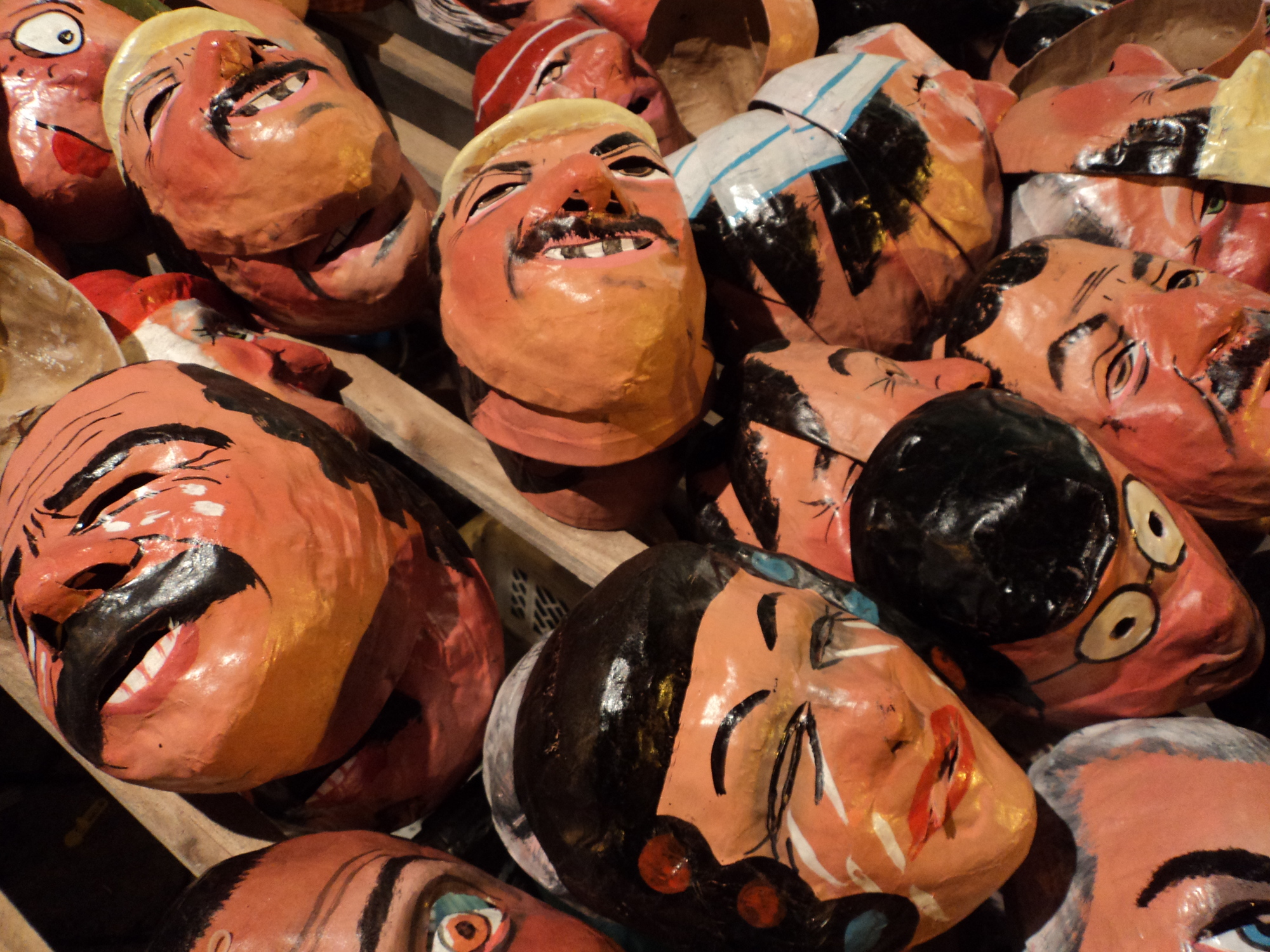 Effigy masks for New Years in Ecuador traditions.