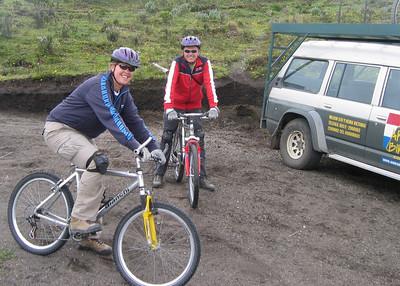 Biking down Cotopaxi. Ecuador.