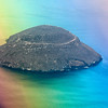 First sight of Daphne Island (plane window caused colorful effect)
