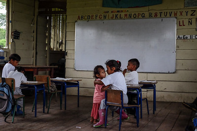Visiting with the children at a Kichwa school - Ecuadorian Rainforest.