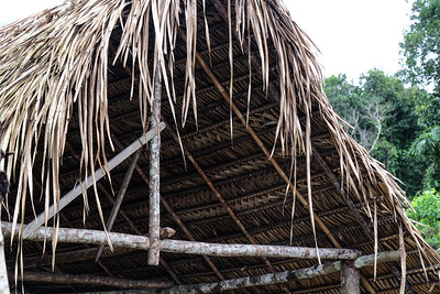 Intricate pattern underside of this thatched roof.