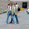 "Barbra and Debbi at the Mitad del Mundo ""Middle of the world"" Monument"