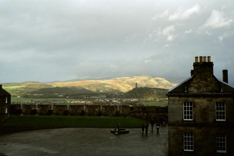 Stirling Castle with the William Wallace Monument in the background.