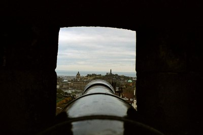 View from one of Edinburgh Castle's cannons.