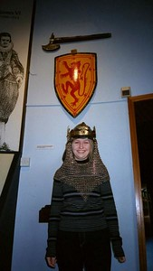Wearing Robert the Bruce's helmet at Bannockburn.
