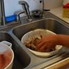preparing the first night's dinner