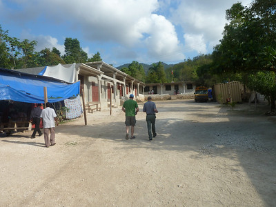 Fond Doux school complex with Pastor Brucely's Church under the blue tarp