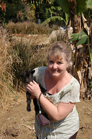 Lisa Botts and baby goat
