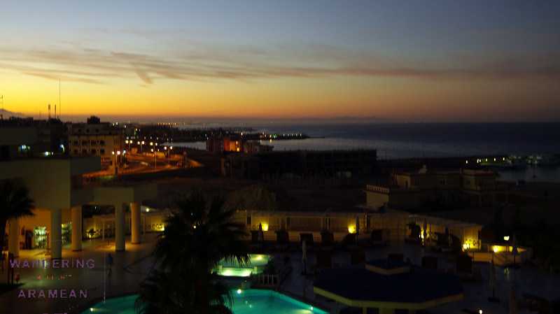 Sunset view from the Hilton in Hurghada overlooking the Red Sea