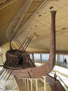 Believed to be the boat which brought the pharoah's body up the Nile to the pyramid for burial. The Solar Boat is now housed behind the pyramids in a huge purpose built hall.  Visitors have to remove their own shoes and put on plastic bag-type shoes.