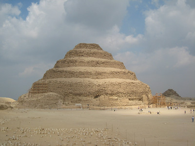 The Step Pyramid at Sakkara.  Built for the burial of Pharoah Zoser around 2700 BC its the earliest known pyramid.