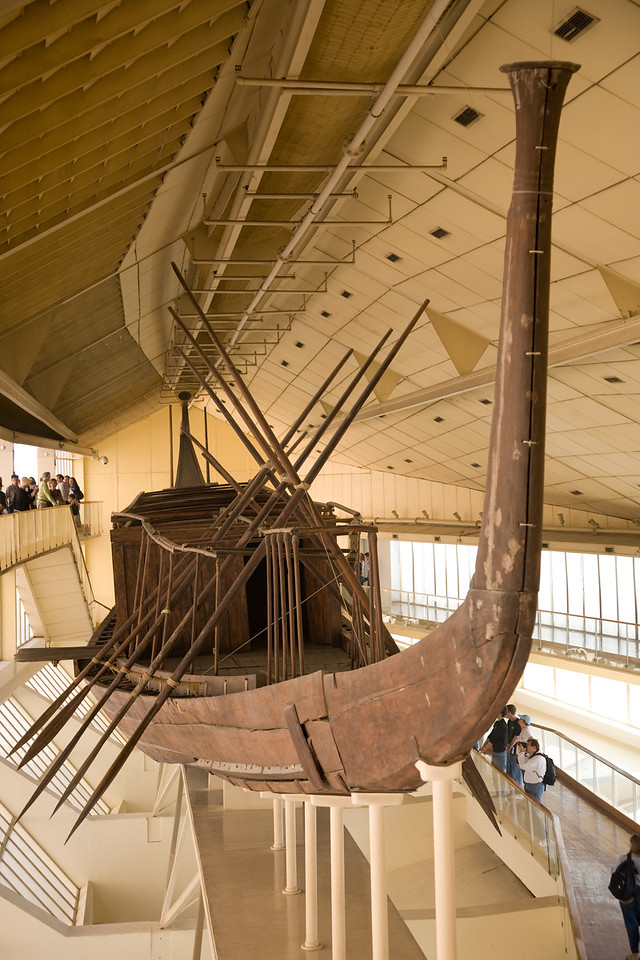 A funerary boat discovered intact buried at the foot of the Great Pyramid.