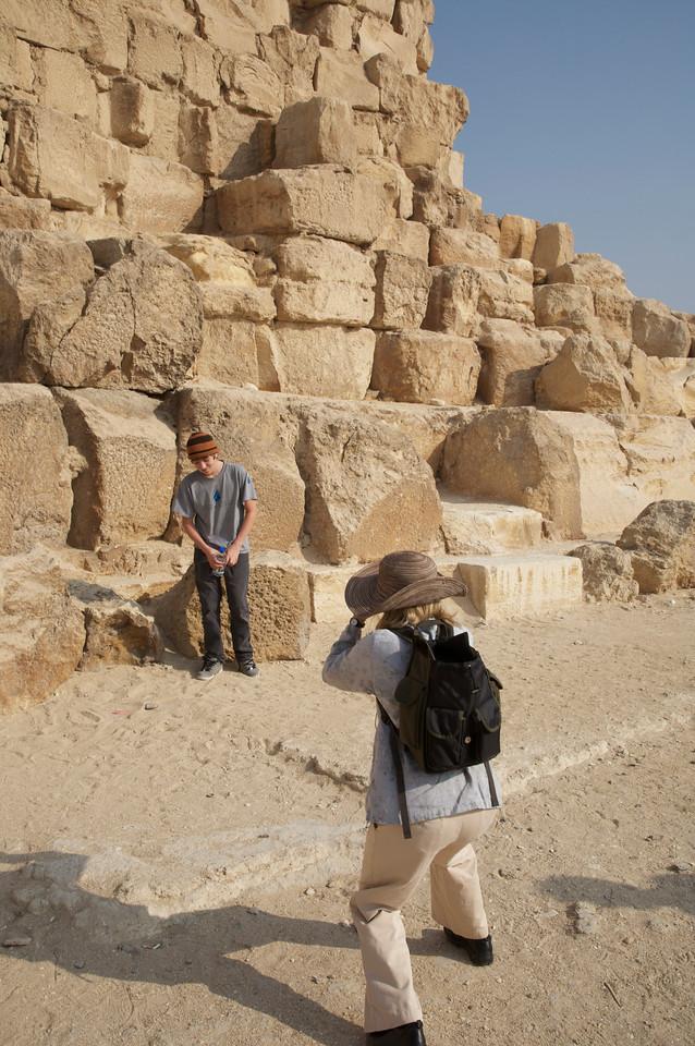 Henry and Jennifer at the foot of the Great Pyramid at Giza
