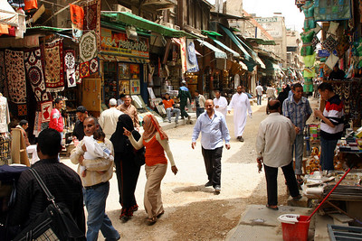 Cairo - Sharia Muski street market within Khan al Khalili.