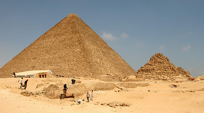 Giza Pyramids - Great Pyramid of Khufu (Cheops), and the smaller Queens Pyramids on the right.  In front of the Great Pyramid (on the left) is the Solar Barque museum (see later photos).